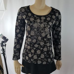 Floral sparkly rose embellishment fleece lined top